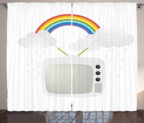 Red Vow Vintage Rainbow Curtains, Old TV with Raining Clouds on Antennas Broadcast Entertainment Technology, Curtain for Bedroom Dining Living Room 2 Panel Set, 104