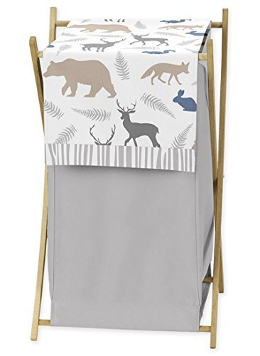 Sweet Jojo Designs Baby Children Kids Clothes Laundry Hamper for Blue Grey and White Woodland Animals Bedding Set B019NMWP3U