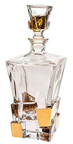 Barski - European Quality - Crystal - Square Shaped - Whiskey/Liquor Decanter - 28 oz. - with Gold Ice Cube Design - Made in Europe