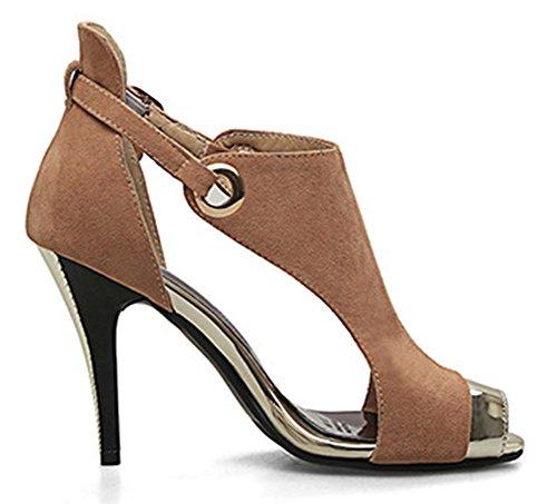 Aisun Women's Stylish Faux Suede Peep Toe Sandals Brown 3pNDt