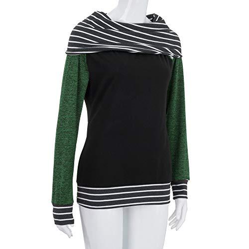 Pullover Sweatshirt Blouse Hiver Arc Vert Bouton Tops Femme Fille Sweat Wrap Automne Originaux Épaules Col Hem Patchwork Chemisier Longues Manches Mode Denudées Zycshang Coton fYBq4Ewx