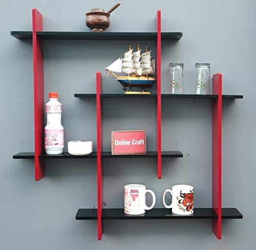onlinecraft Wooden Wall Shelf   red, Black