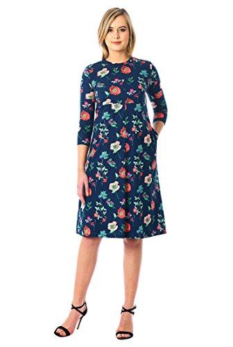 Floral Print Banded Empire Dress (eShakti Women's Floral Print Cotton Knit Empire Shift Dress M-8 Regular Navy Multi)