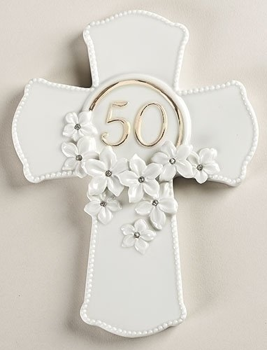 50th Anniversary Gold Accent Jeweled Flowers White Porcelain Wall Cross