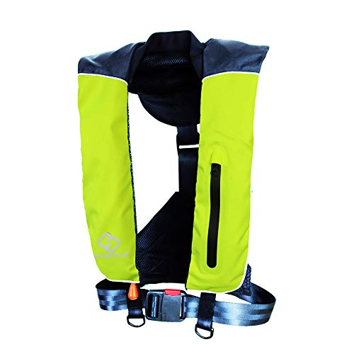 Compact FLOATTOP 150N Buoyancy PFD Outdoor Life Vest Automatic/Manual Inflatable Life Jacket PFD with 33g CO2 Cartridge (Green, Automatic)