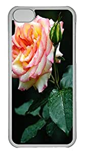 China rose Polycarbonate Hard Case Cover for iPhone 5C ¨CTransparent