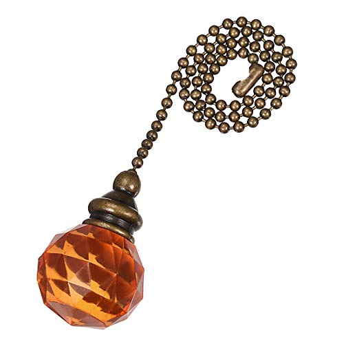 Acrylic Pull Chain - uxcell Orange Acrylic Sphere Pendant 12 inch Antique Brass Pull Chain for Lighting Fans