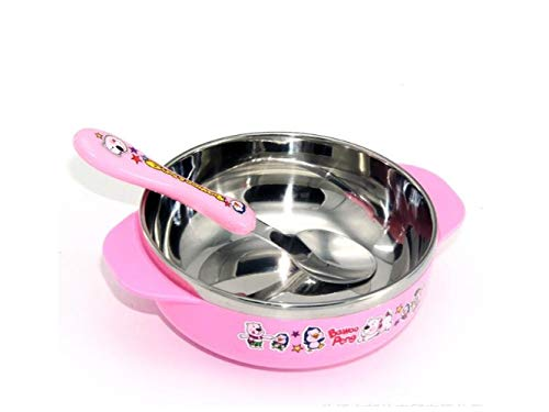 Yuchoi Contemporary Animal Pattern Baby Feeding Bowl Anti-Scald Stainless Steel Children Dish Insulation Bowl with Double Handles for Kids Students(Pink) by Yuchoi
