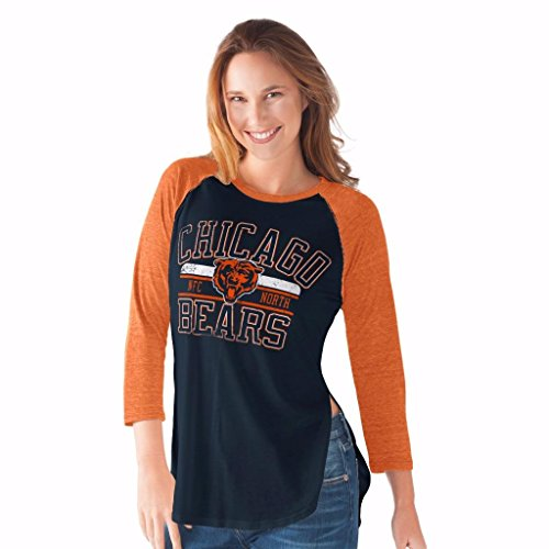 NFL Women's Hangtime Distressed Logo 3/4 Sleeve Tee (Large, Chicago Bears)