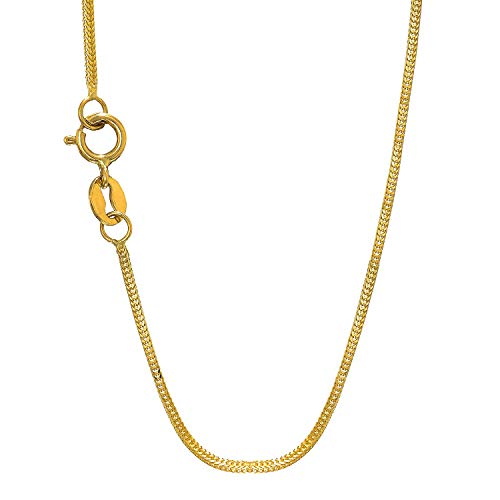 JewelStop 14k Solid Yellow Gold 0.8 mm Foxtail Chain Necklace, Spring Ring - 16