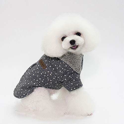 fogohill Pet Dogs Pajamas Newest Pet Shearling Lined Winter Warm Costume Snowflake Print Windproof Apparel Grey Medium -