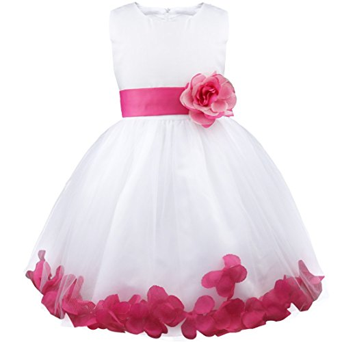 (iiniim Girls Petals Tulle Princess Wedding Pageant Party Flower Girl Dress White Red)