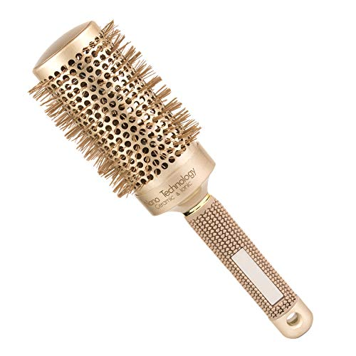 Weetall Round Barrel Anti-Static Hair Brush with Boar Bristles, Nano Thermal Ceramic & Ionic Blowout Brush for Blow Drying, Curling & Straightening, Perfect Volume & Shine (2 inch)