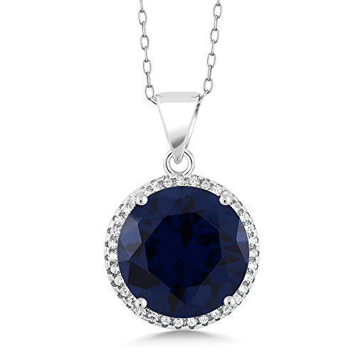 Simulated Sapphire Sterling Pendant Necklace product image