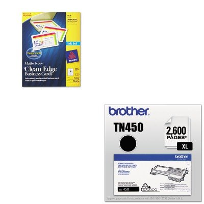 KITAVE8876BRTTN450 - Value Kit - Avery Two-Side Printable Clean Edge Business Cards (AVE8876) and Brother TN450 TN-450 High-Yield Toner (BRTTN450)