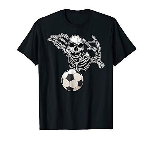Halloween Skeleton Foot Ball Soccer Player Skull Hands Shirt -