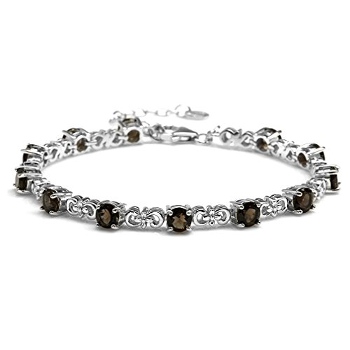 (5.64ct. Natural Smoky Quartz White Gold Plated 925 Sterling Silver Flower 7 to 8.5 Inches Adjustable Bracelet)