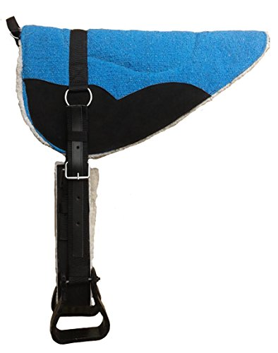 Western Bareback Pad (Tahoe Extra Comfort 4 Layer Padded Bareback Pad with Girth & Stirrups, Turquoise)