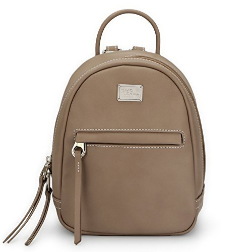 Womens Tan Leather Mini (DAVID - JONES INTERNATIONAL Mini Vegan Leather Tan Backpack Purse Camel Bookbag with Straps for Women)