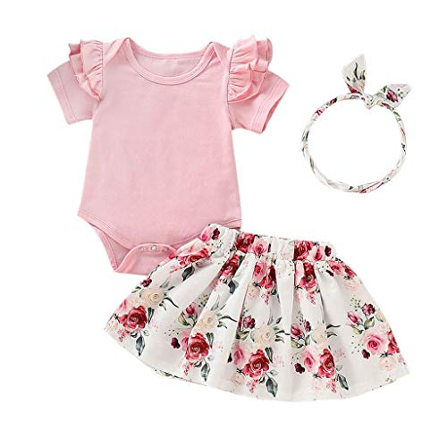 Infant Toddler Baby Girl Summer Clothes Ruffle Short Sleeve Romper+Floral Tutu Skirt+Headband 3Pcs Outfits (Pink, 12-18 Months)