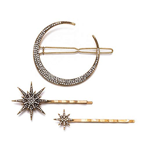 3Pcs Crystal Design Hair Pins Rhinestone Moon Star Hair Clips Simple -