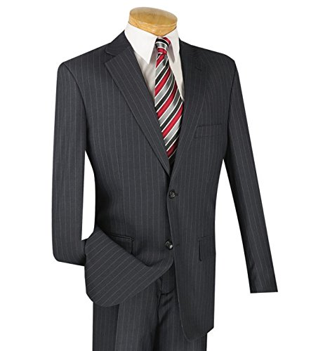 VINCI Men's Pinstriped 2 Button Classic-Fit Suit New [Color Charcoal Gray | Size: 42 Regular/36 Waist] (Wool Suit Pant Pinstripe)