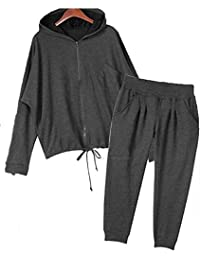 Hoodie Black Track Suit Sport Outfit Woman Jacket Pants LS003 size8x