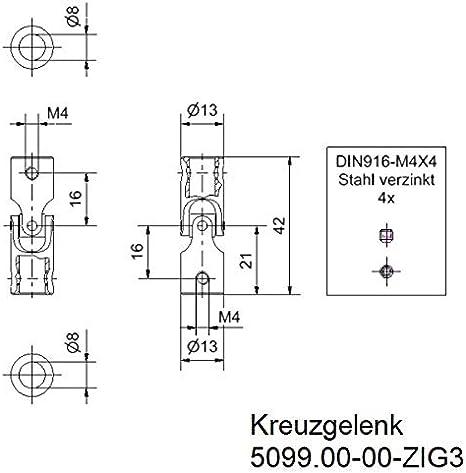 10 X Kreuzgelenk Ø 13mm Beidseitig Bohrung 8mm L 42mm Baumarkt