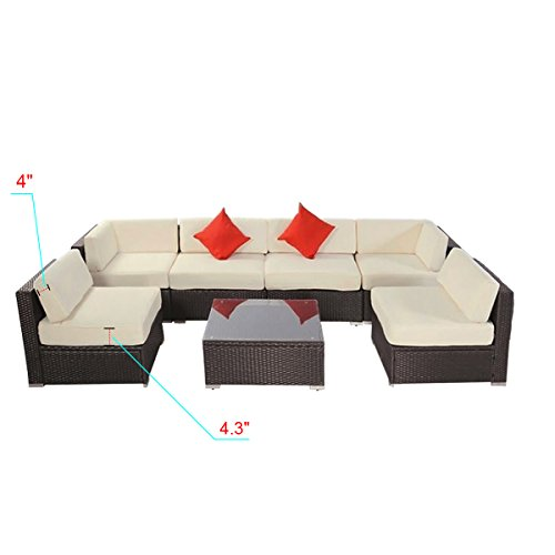 7pcs Polar Aurora Outdoor Patio Furniture Rattan Wicker Sectional Sofa Chair Couch Set Deluxe (Brown)