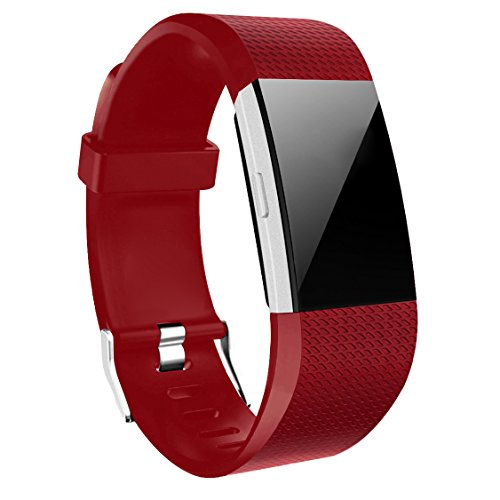 Wishesport For Fitbit Charge 2 Bands Special edition Replacement Bands Accessory Sport Bands Strap for Charge 2 HR Fitness dot L Red