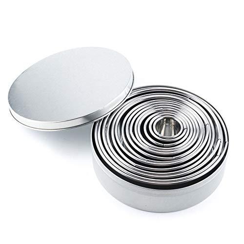 Vpang 14 Pcs Round Cookie Biscuit Cutter Set Circle Pastry Doughnut Cutters Round Cookie Cutters Set Circle Baking Metal Ring Molds -