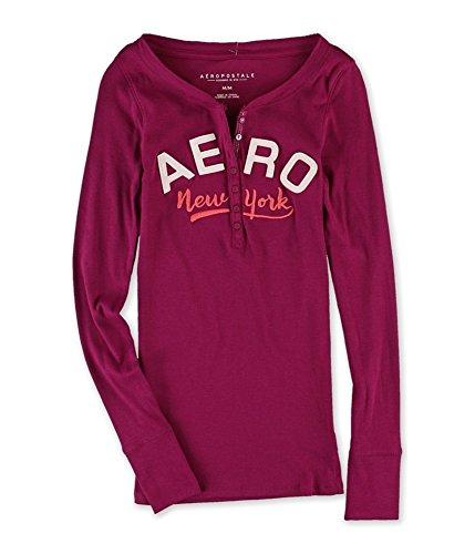 Aeropostale Womens Curved NY Henley Shirt 583 S