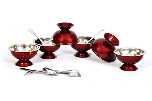 Dynore Set of 12 Maroon Stainless Steel ice Cream Cup and Spoon Set  6 Each