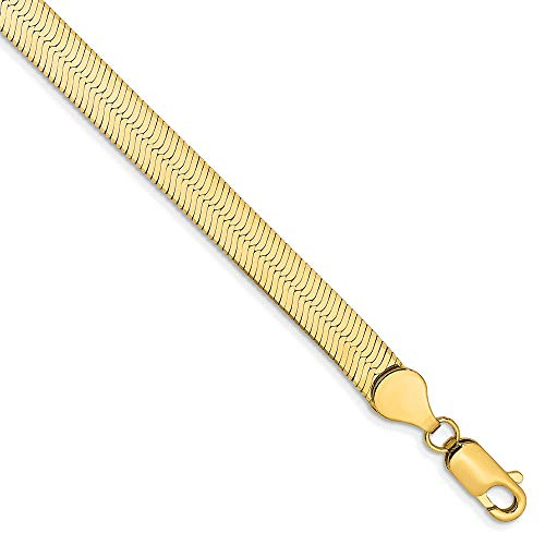 - 14k Yellow Gold 5.5mm Silky Link Herringbone Bracelet Chain 7 Inch Fine Jewelry Gifts For Women For Her