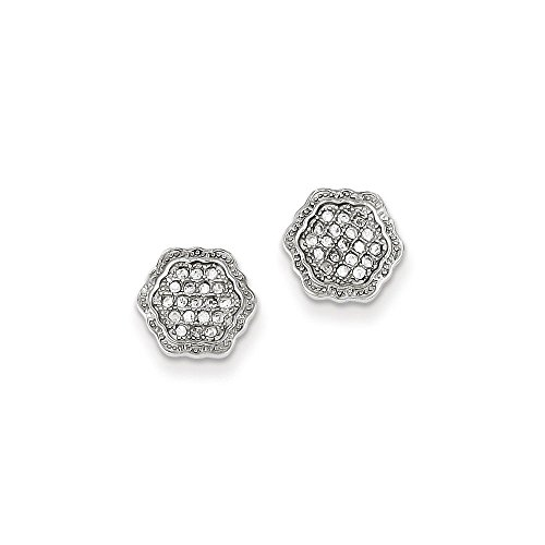 Sterling Silver CZ Pave Hexagon Post (Large Hexagon Post)
