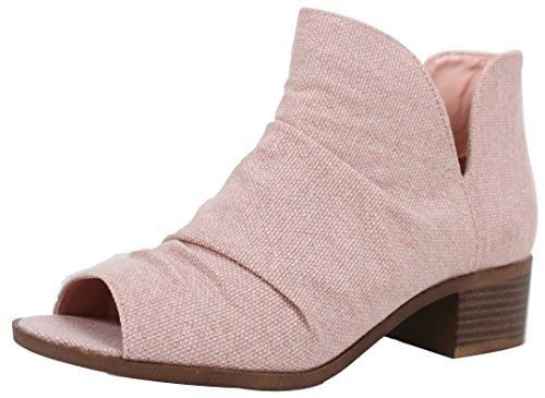 Soda Women's Peep Toe Ruched Scrunch Open Side Low Block Heel Ankle Bootie (Pink, 6 B(M) US) ()