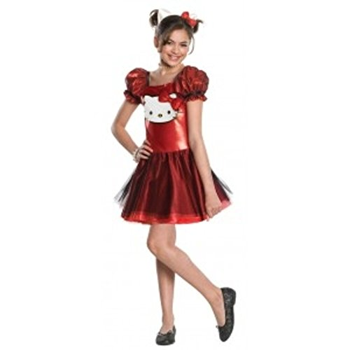 LARGE 12-14 Girls Hello Kitty Costume w Dress / Ears Headpiece Sparkle (Hello Kitty Costume Head)