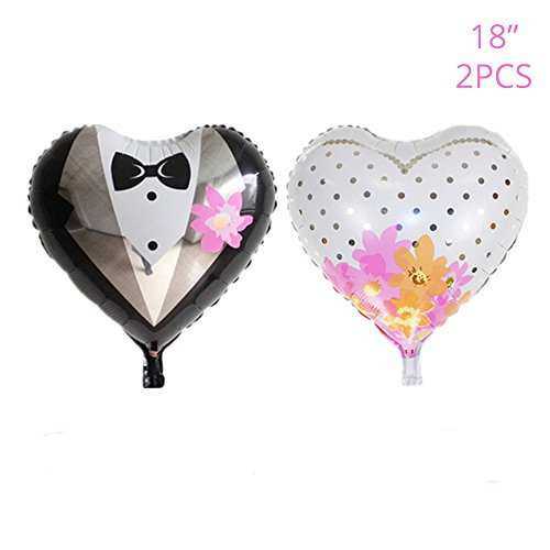 Wedding Balloons Decoration, 18'' Heart-shaped Bride and Groom Dress Balloons Set for Romantic Wedding, Bridal Shower, Anniversary, Engagement Party Decor (Time 18' Foil Balloon)