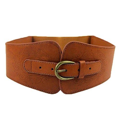 Sunflyfashion Super Wide Women Ladies Vintage Faux Leather Totem Print Elastic Stretch Corset Cinch Belt (Brown)