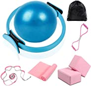 Pilates Ring Magic Circle with Ball Set, 15 Inch Yoga Ring Pilates Fitness Circle Exercise Equipment for Home