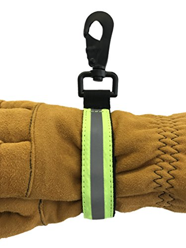 LINE2design Heavy Duty Firefighter Glove Strap with Green Reflective Trim - Ultimate Turnout Gear Firefighting Glove Safety Strap (Green Firefighter)