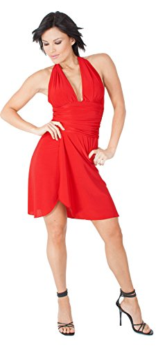 Sexy Short Evening Club Cocktail Halter Dress with Sarong Short Skirt from Hot Fash Dresses - CONTESSA Red
