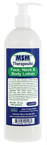 Purified OptiMSM in Odor-Free Quick Absorbing Face Neck and Body Lotion 16oz 20% Optimsm Highest Concentration of Any MSM Lotion on The Market by MSM Health Solutions by MSM Health Solutions