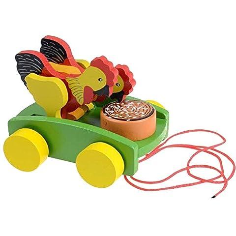 AxiEr Children Wooden Rooster Pull Carts Preschool Toddler Toy