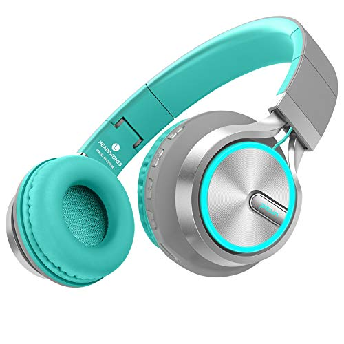 Picun Bluetooth Headphones Wireless 20 Hrs Playtime Over Ear, Romantic LED Lighting HiFi Stereo Headset with HD Mic, Foldable, Soft Protein Earmuff, TF Card/Wired Mode for PC TV Cellphone (Grey/Mint) (Green Bluetooth Headphones)