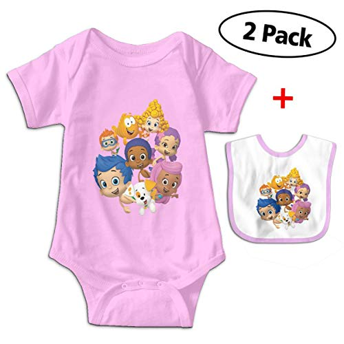 Bubble-Guppies Babys Kids Short Sleeve Baby Climbing Clothes for 3-24 Months and Baby Bib