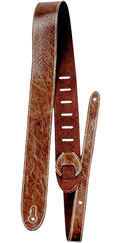 Width Backing - Perri's Italian Garment Leather Guitar Strap with Premium Suede Backing Vintage Brown 2