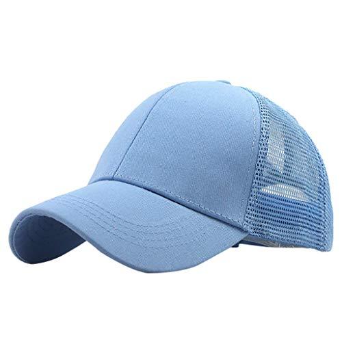 (iLXHD Women Baseball Cap Hat Ponycap Messy High Bun Ponytail Adjustable Mesh Trucker Baseball Cap Hat Light Blue)