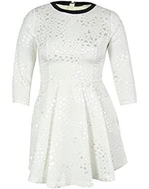 Guess Women's 3/4 Sleeves Jacquard Flare Dress