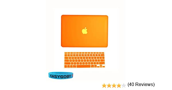 Model: A1342 // Released after Oct. 2009 + Keyboard Cover Easygoby 2in1 Matte Frosted Hard Shell Case Cover for 13-inch White Unibody MacBook 13 Orange